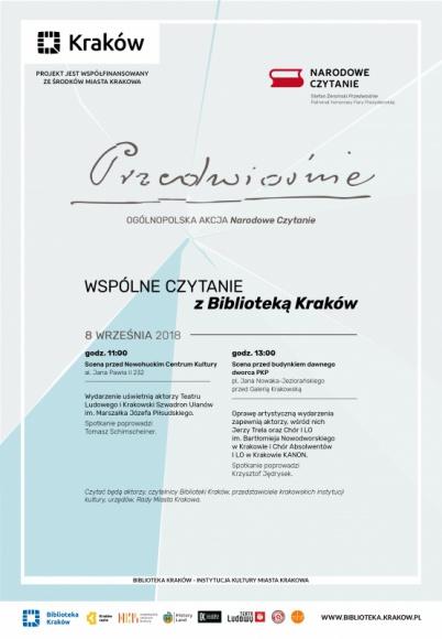Wspólne czytanie z Biblioteką Kraków przed Galerią Krakowską